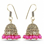 Brass Jhumki Earrings with Pink Colored Beads