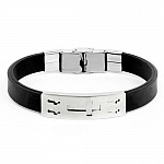 PU Leather Bracelet In Silver Tone For Him