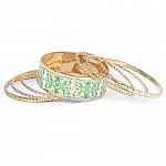 Multicolour Gold Plated Bangle Set Of 7 Pcs For Women