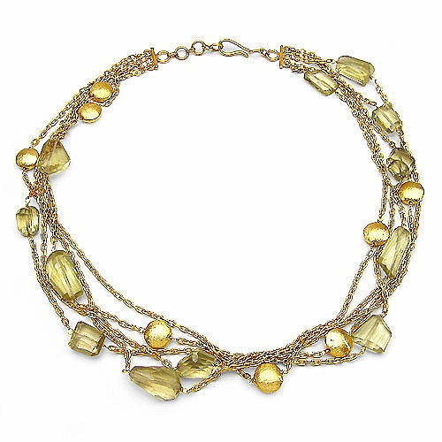 48.50 Grams Lemon Glass Gold Plated Brass Necklace