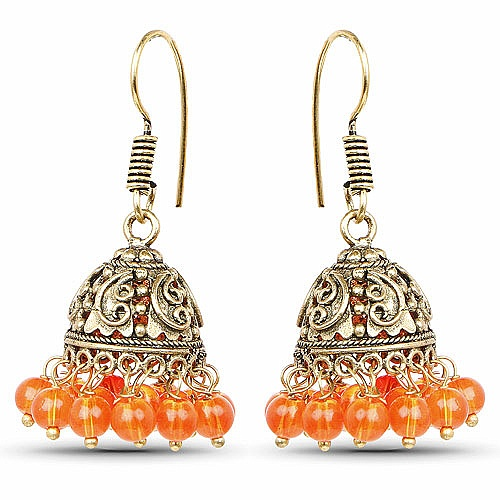 Brass Jhumki Earrings with Orange Colored Beads