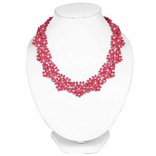 Pink Plated Chunky Fashion Necklace Adorned with White Stone