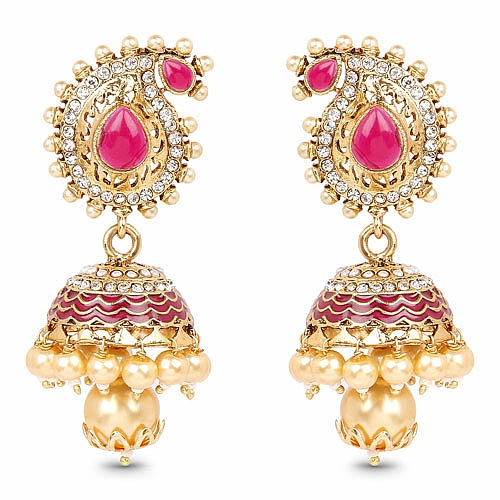 Yellow Synthetic Pearl, White Stone, White Synthetic Pearl & Pink Stone Gold Plated Pink Enamel Jhumki Earrings