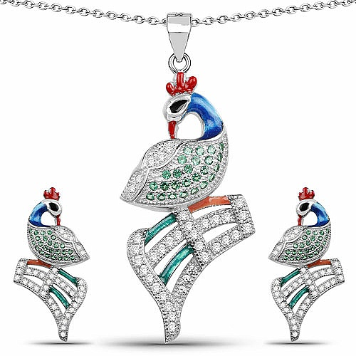 Green Cubic Zirconia & White Cubic Zirconia .925 Sterling Silve