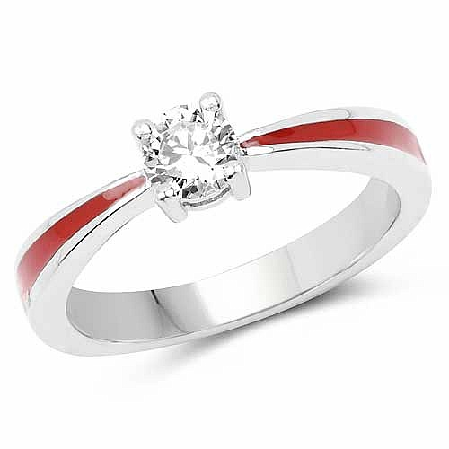 White Cubic Zirconia .925 Sterling Silver Red Enamel Solitai