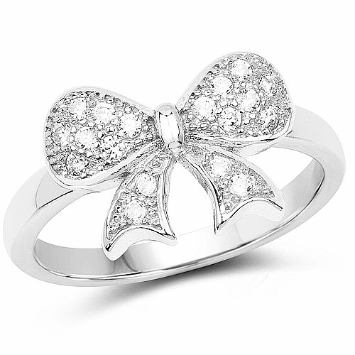 White Cubic Zirconia .925 Sterling Silver Bow Tie Shape Ring