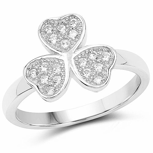 White Cubic Zirconia .925 Sterling Silver Leaf Shape Ring