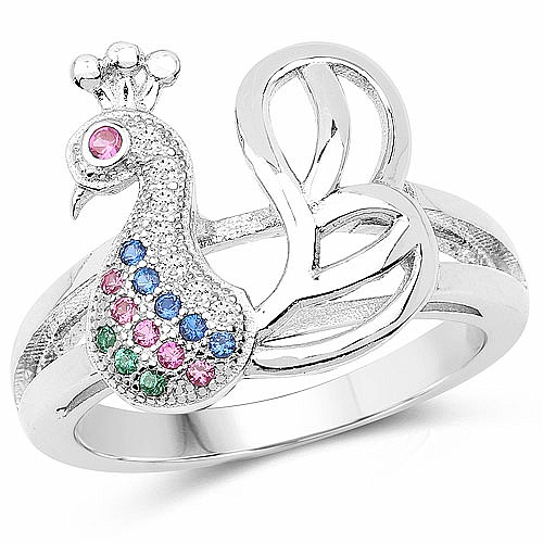 Multicolor Cubic Zirconia .925 Sterling Silver Peacock Shape