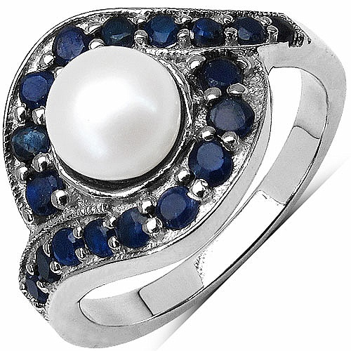 2.55CTW Genuine Pearl & Blue Sapphire .925 Sterling Silver Ring