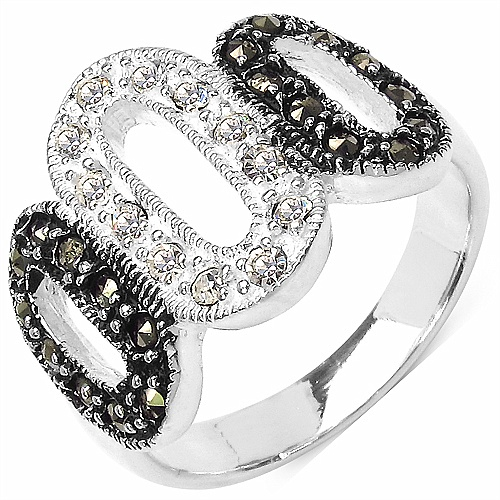 5.60 Grams Marcasite & White Cubic Zircon .925 Sterling Silver