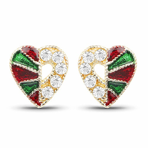 Gold Plated Heart Shape Tops Earrings Studded With White Sto