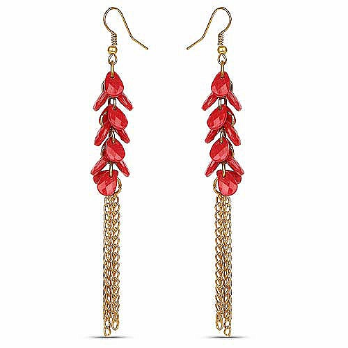 Oxidised Gold Plated Red Fashion Chandelier Earrings