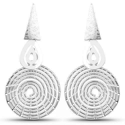 Chrome Plating Contemporary Fusion Dangle Earrings