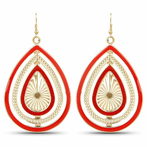 Party Style Diva Graceful Red Enemal Drop Dangle Earrings