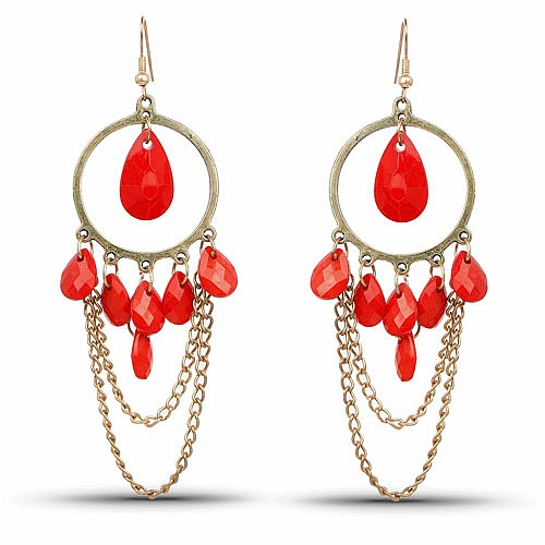 Gold Plated Red Stone Fashion Chandelier Hoop Earrings