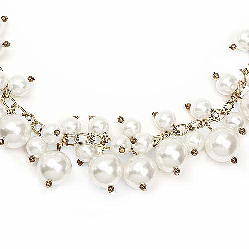 Gold Plated White Matinee Length Pearl Fashion Necklace