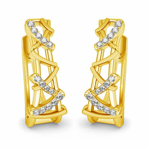 Diamond Earrings in 18K Yellow Gold (8.600 gms) with Diamond
