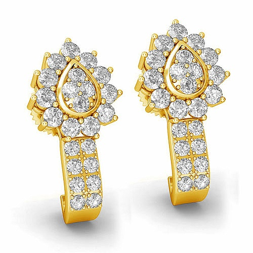 Diamond Earrings in 18K Yellow Gold (6.100 gms) with Diamond