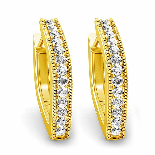 Diamond Earrings in 18K Yellow Gold (9.300 gms) with Diamond
