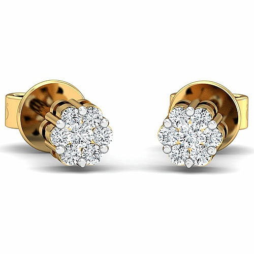 Diamond Earrings in 18K Yellow Gold (1.500 gms) with Diamond