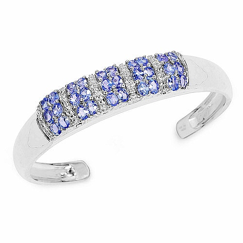 5.16CTW Genuine Tanzanite & White Topaz .925 Sterling Silver Ba