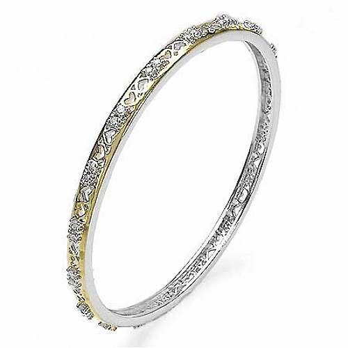2.40CTW .925 Sterling Silver White Cubic Zirconia Bangle