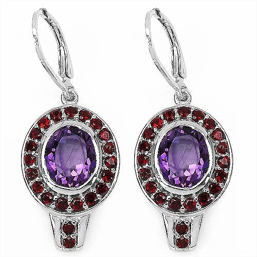 7.10CTW Genuine Amethyst & Garnet .925 Sterling Silver Earrings