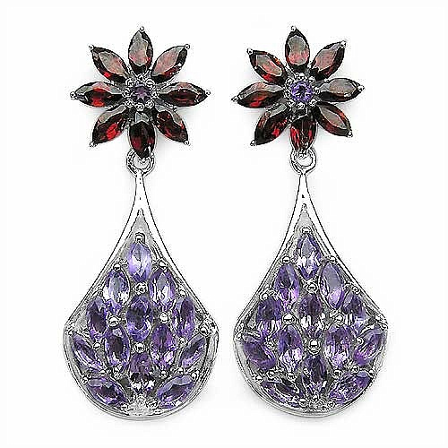 4.60CTW Amethyst & Garnet .925 Sterling Silver Earrings