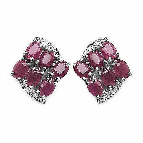3.00CTW Genuine Ruby .925 Sterling Silver Earrings