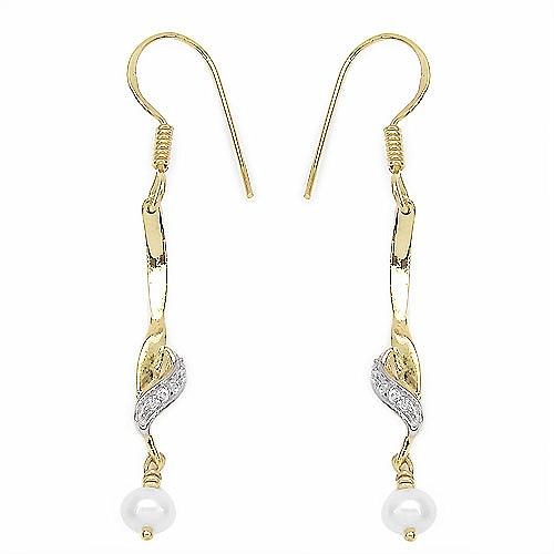 1.36CTW Genuine Pearl & White Cubic Zircon .925 Sterling Silver