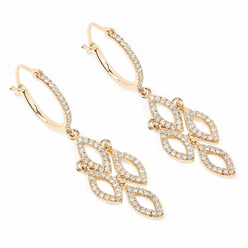 0.62CTW White Diamond 14K Yellow Gold Earrings