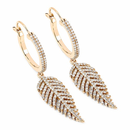1.10CTW White Diamond 14K Yellow Gold Earrings