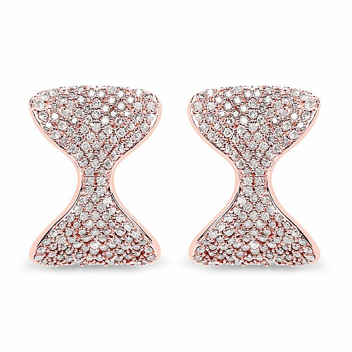1.09CTW White Diamond 14K Rose Gold Earrings