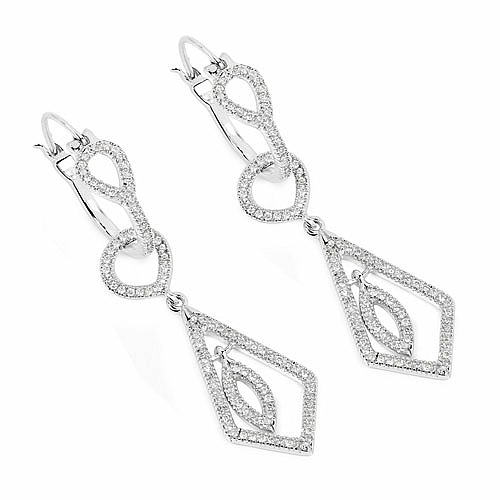 0.85CTW White Diamond 14K White Gold Earrings
