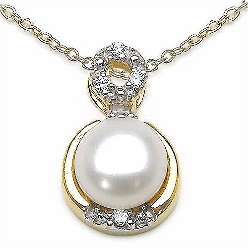 2.34CTW White Pearl & Cubic Zirconia .925 Sterling Silver Pe