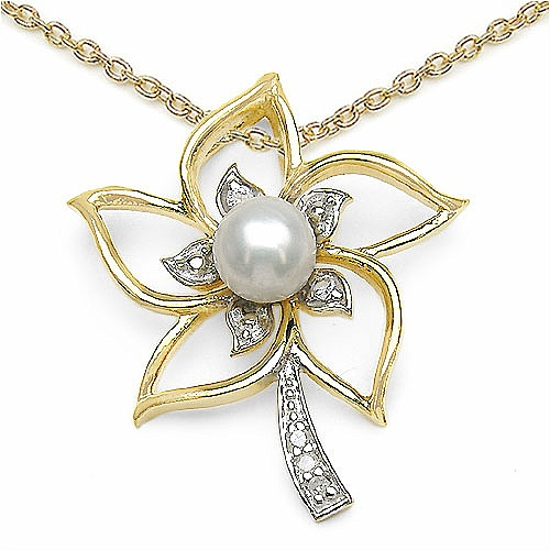 1.22CTW Pearl Gold Plated .925 Sterling Silver Pendant