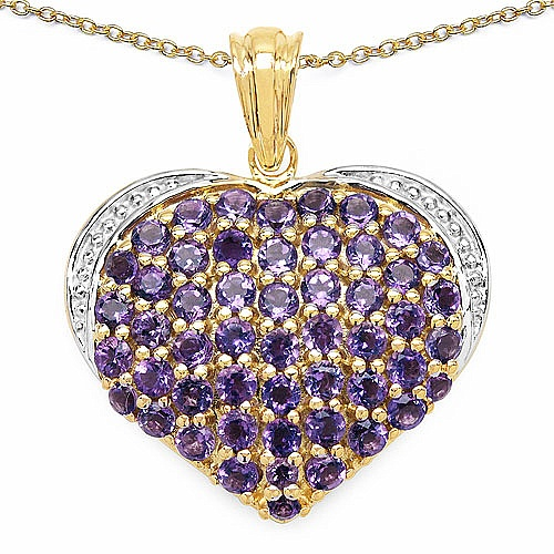 3.52CTW Genuine Amethyst 14K Yellow Gold Plated .925 Sterlin
