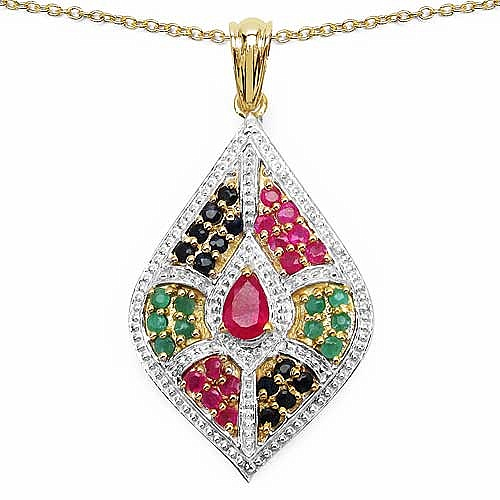 2.03CTW Genuine Multi Gemstone 14K Yellow Gold Plated .925 S