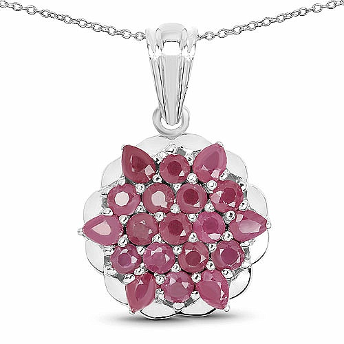 3.02CTW Genuine Ruby .925 Sterling Silver Pendant
