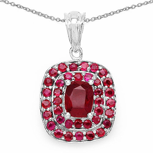 4.02CTW Glass Filled Ruby & Ruby .925 Sterling Silver Pendan