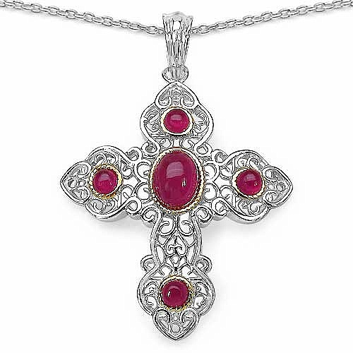 2.64CTW Genuine Glass Filled Ruby & Ruby .925 Sterling Silve