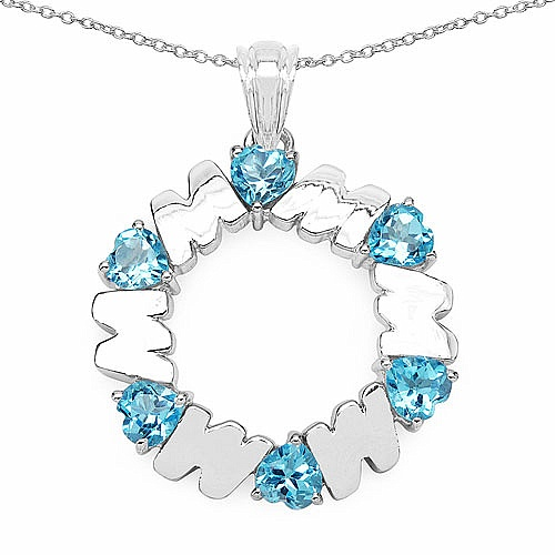 3.00CTW Genuine Swiss Blue Topaz .925 Sterling Silver Pendant