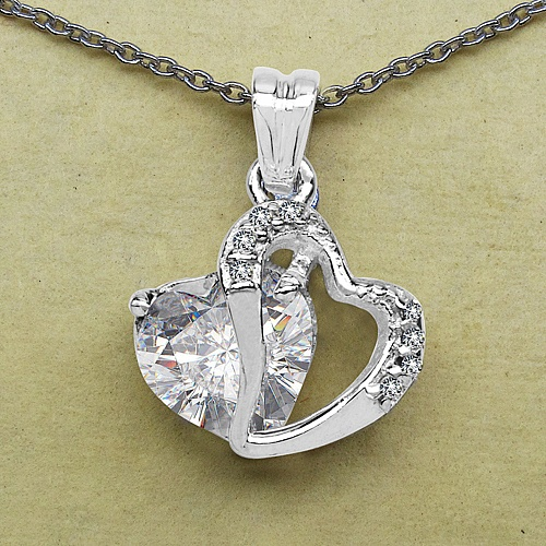 3.30CTW White Cubic Zirconia .925 Sterling Silver Heart Shape P