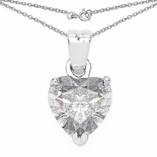 4.70CTW White Cubic Zirconia .925 Sterling Silver Heart Shap