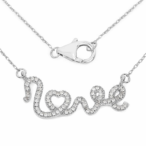 0.30CTW White Diamond 14K White Gold Pendant