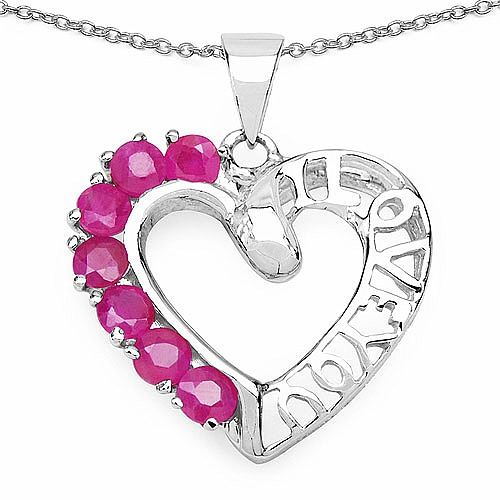 0.84CTW Genuine Ruby .925 Sterling Silver Heart Shape Pendan