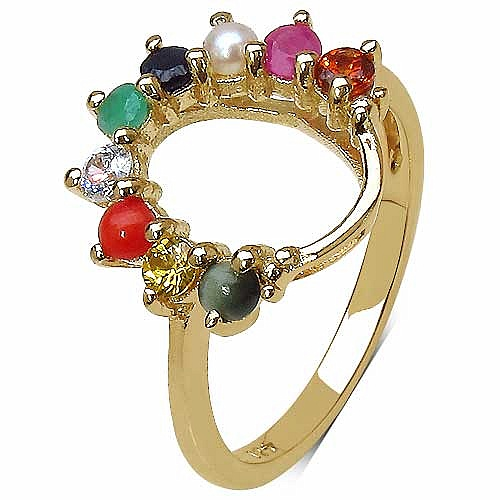 0.74CTW Navratna 14K Yellow Gold Plated .925 Sterling Silver
