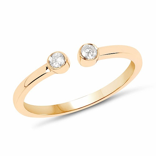 0.10CTW White Diamond 14K Yellow Gold Ring