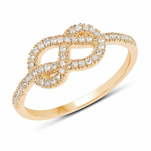 0.20CTW White Diamond 14K Yellow Gold Ring