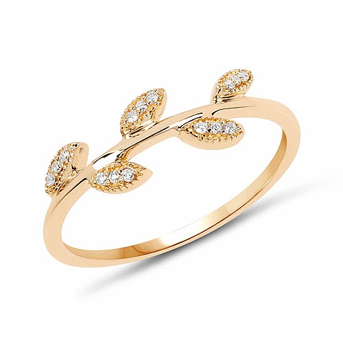 0.06CTW White Diamond 14K Yellow Gold Ring